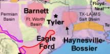 Map showing how Tyler Texas is positioned between the Barnett Shale and the Haynesville - Bossier Shale natural gas plays