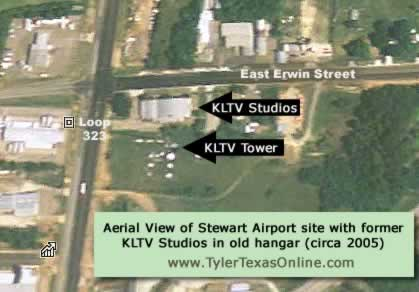 Aerial view of the Stewart Airport site in Tyler Texas showing the location of the former KLTV studios in an old hangar building