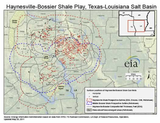 Map of the Haynesville - Bossier Shale Play in Texas and Louisiana
