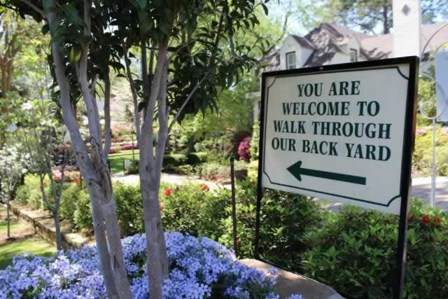 """You are Welcome to Walk Through our Back Yard"" ... sign on the Tyler Texas Azalea & Spring Flower Trails"