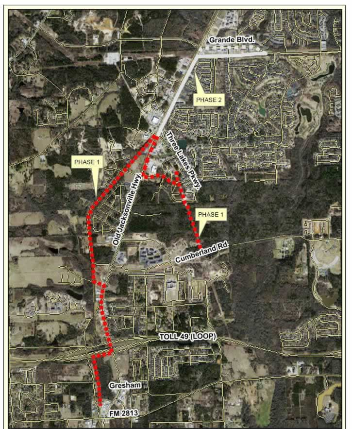 Map from the City of Tyler showing the future segments of Legacy Trails