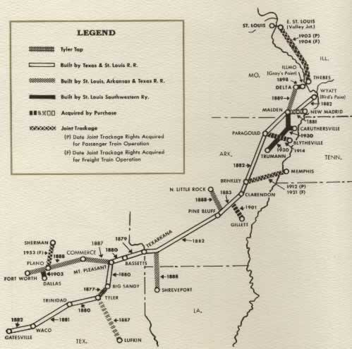 Map showing the Cotton Belt construction history