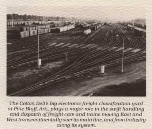 "Photo of the completed gravity yard - ""The Cotton Belt's big electronic freight classification yard at Pine Bluff, Ark., plays a major role in the swift handling and dispatch of freight cars and trains moving East and West transcontinentally over its main line, and from industry along its system"