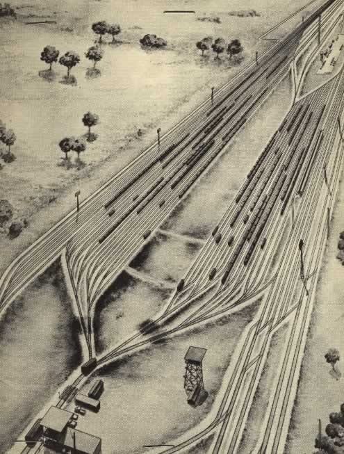 Artist's sketch of the Cotton Belt Route's Gravity Yard in Pine Bluff, Arkansas