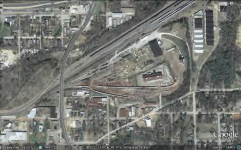 The Cotton Belt yards, Tyler, Texas, aerial view, 2010 (Google Maps)