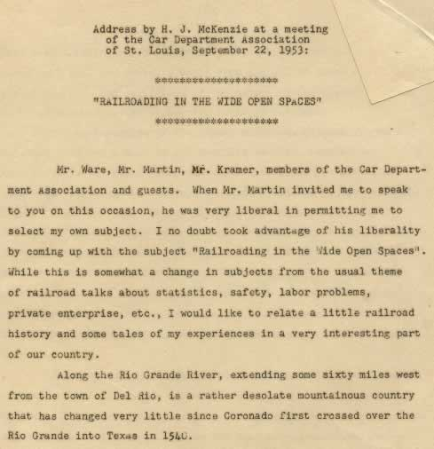 "Address by H. J. McKenzie at a meeting of the Car Department Association of St. Louis, September 22, 1953, entitled ""Railroading in the Wide Open Spaces"""
