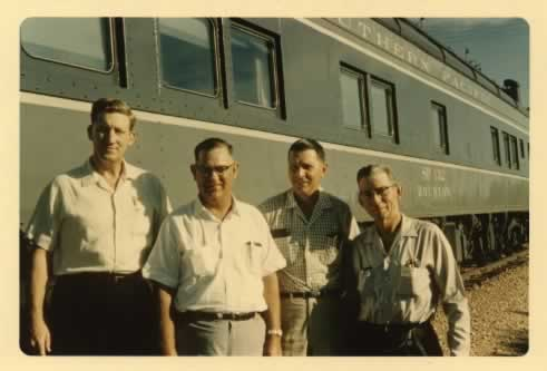 "Southern Pacific Business Car SP 132 ""Houston"" (circa 1969) - (l to r) John Ramsey, Bubba Barnett, Doyle Gibson, W.M. Woods"