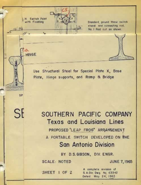 "Proposed ""Leap Frog"" arrangement, a portable railroad switch, developed on the San Antonio Division of the Southern Pacific, by D.S Gibson, Division Engineer"