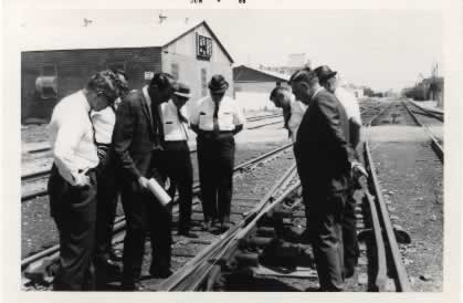 "Doyle Gibson demonstrating the ""Leap Frog"" during his tenure as Division Engineer of the San Antonio Division of the Southern Pacific Railroad"