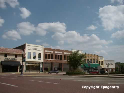 Streetscape, downtown Tyler Texas, including the site of the Arcadia Theater