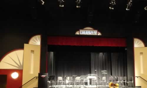 The stage inside Liberty Hall in Tyler Texas