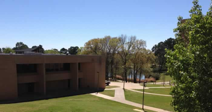 Campus scene with lake at the University of Texas at Tyler