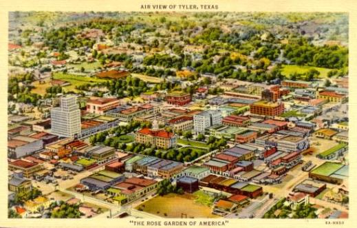 "Aerial View of Tyler, Texas, ""The Rose Garden of America"""