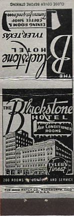 Hotel Blackstone, Tyler Texas ... matchbook cover
