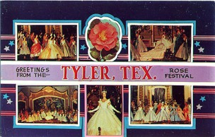 "Historic postcard ... ""Greetings from the Tyler Texas Rose Festival"""
