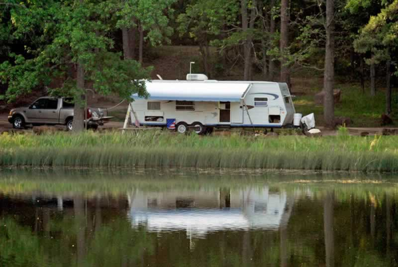 RV camping at Tyler State Park in East Texas