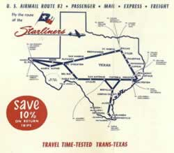 Trans Texas Airways route map circa 1952, showing Tyler (click to enlarge)