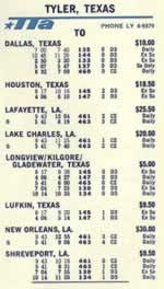 Trans Texas Airways 1966 flight schedule for Tyler Texas, (click to enlarge)