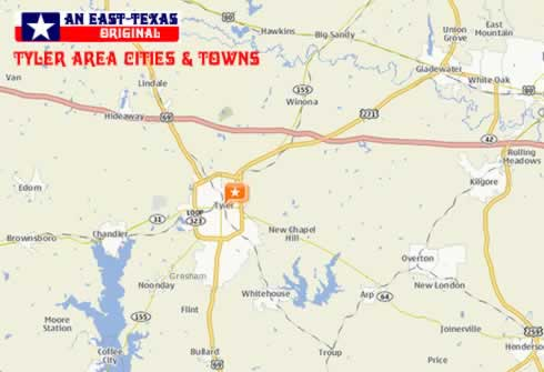 Tyler area cities and towns on map