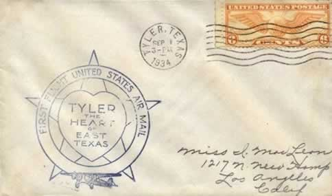 First Flight United States Air Mail - Tyler, The Heart of East Texas, September 1, 1934