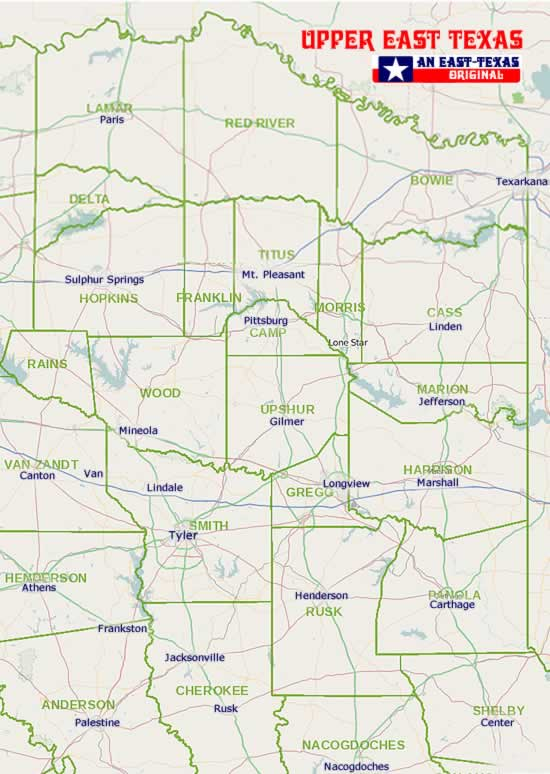 Tyler, other major cities and the counties and cities of East Texas